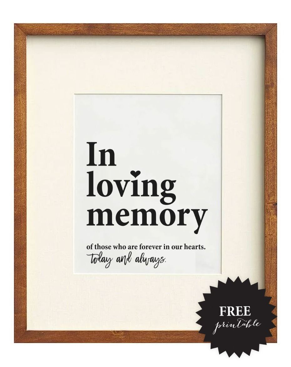 photo relating to In Loving Memory Free Printable titled Cost-free Wedding day Memorial Signs or symptoms + 5 Remembrance Suggestions Wedding day