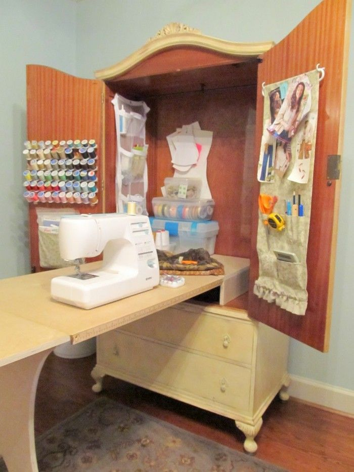 French Armoire Turned Sewing Cabinet Your Projects Obn Sewing Cabinet Sewing Rooms Sewing Table