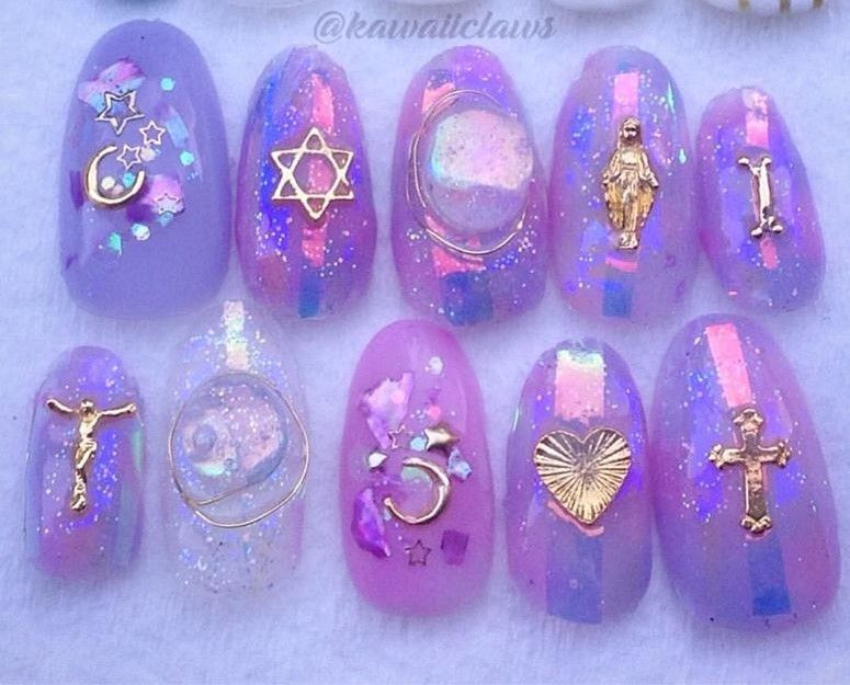 Iridescent Glass Glitter with Religious Icons & Gold Charms & Handmade Stones Gel Nail Art Press on false fake nails