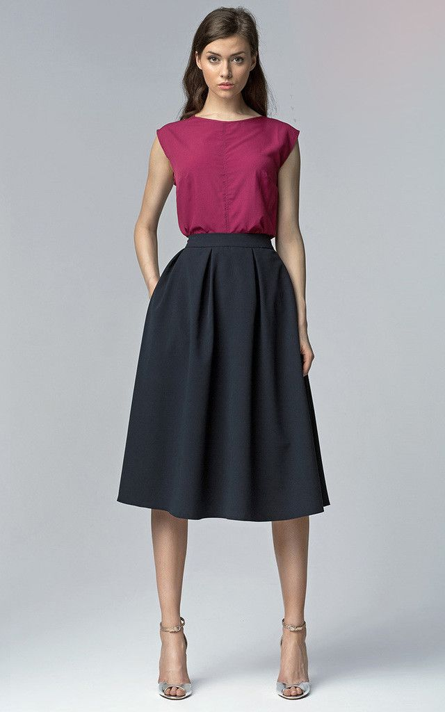 Navy Midi Skirt With Pockets | Classy, Fit and Zippers