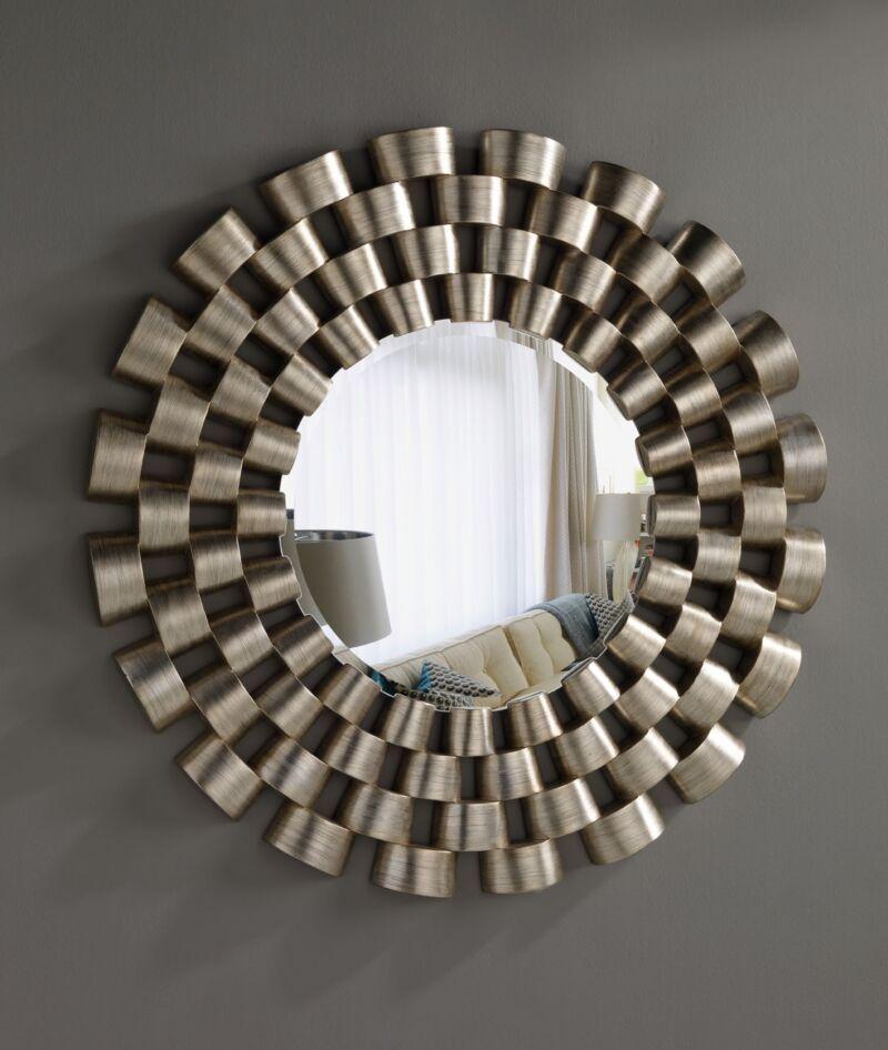 Espejos modernos acabado en pan de plata rayada espejo for Espejos redondos decorativos modernos
