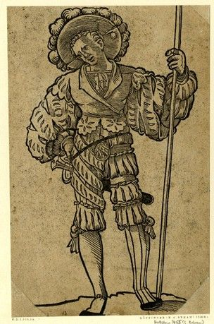 A landsknecht; after Sebald Beham (Pauli 1455); WL figure, frontal view, his head turned to l; holding a staff in his l hand, his r hand pla...