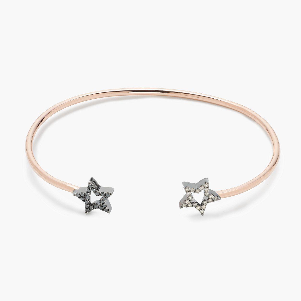 Rosa de la cruz london k gold and diamond double star bracelet