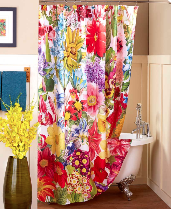 Floral Fabric Shower Curtain Bold Bouquet Garden Colors Flowers
