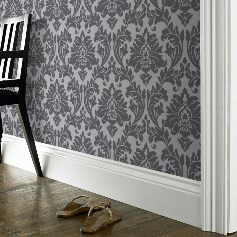 Grey Wallpaper Feature Wall Living In 2020 Grey Wallpaper Ac