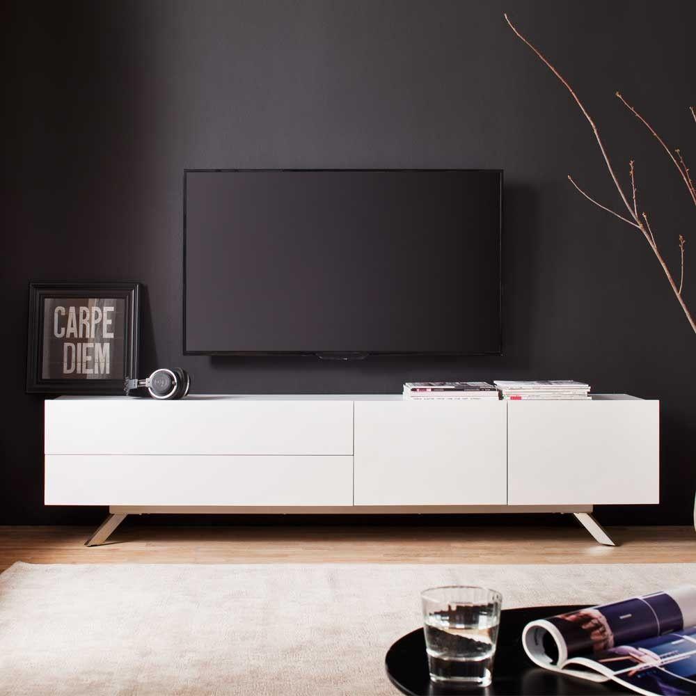 Tv Lowboard Ruhnau In Weiss Edelstahl Optik 200 Cm Breit Tv Mobel Weiss Sidebord Wohnzimmer Wohnzimmer Weiss