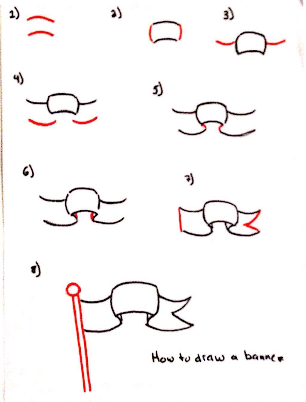 Step By Banner Drawing Flags Banners Pinterest Drawings Flag