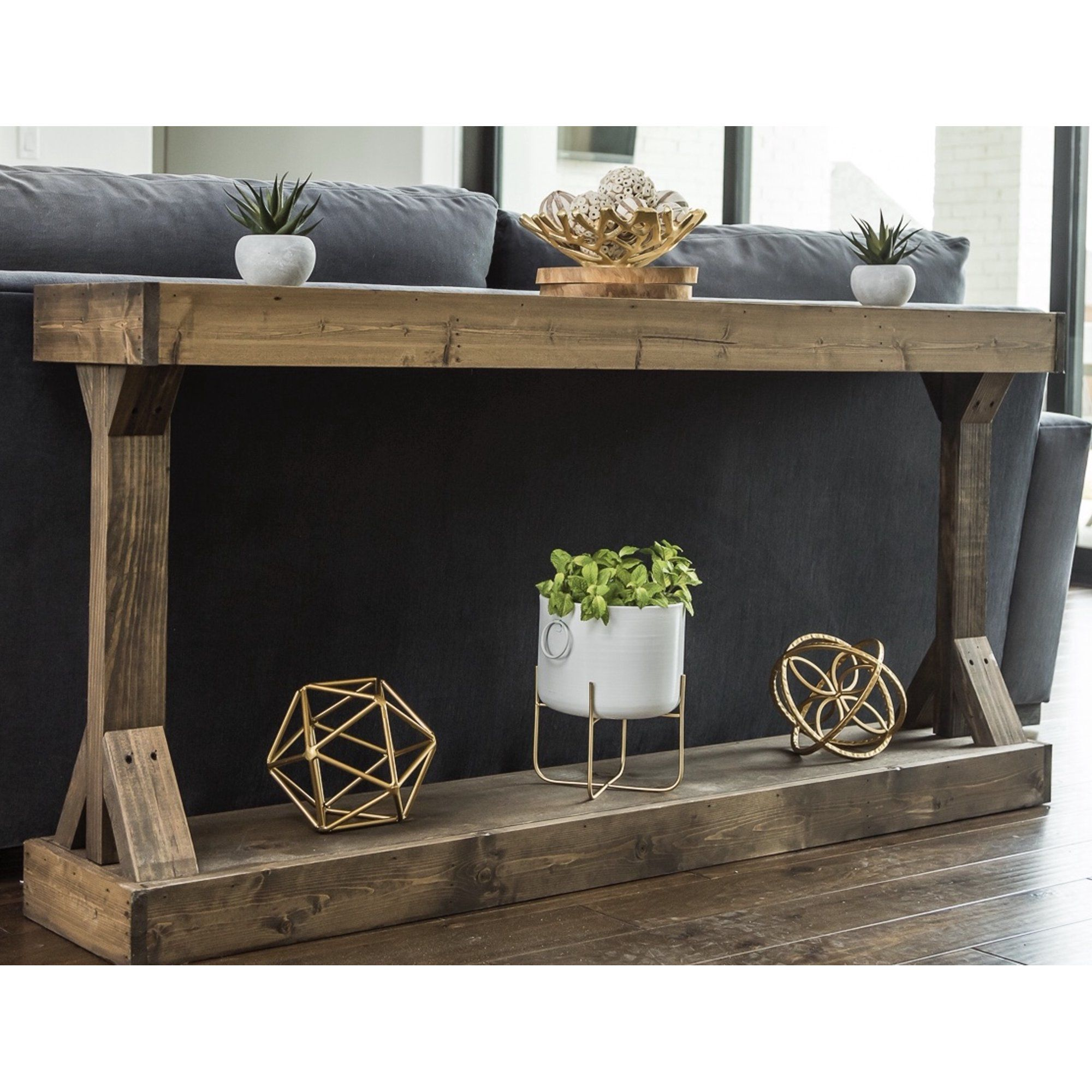 Woven Paths Dark Walnut Large Barb Console Table Walmart Com In 2021 Farmhouse Console Table Large Console Table Sofa Table Decor
