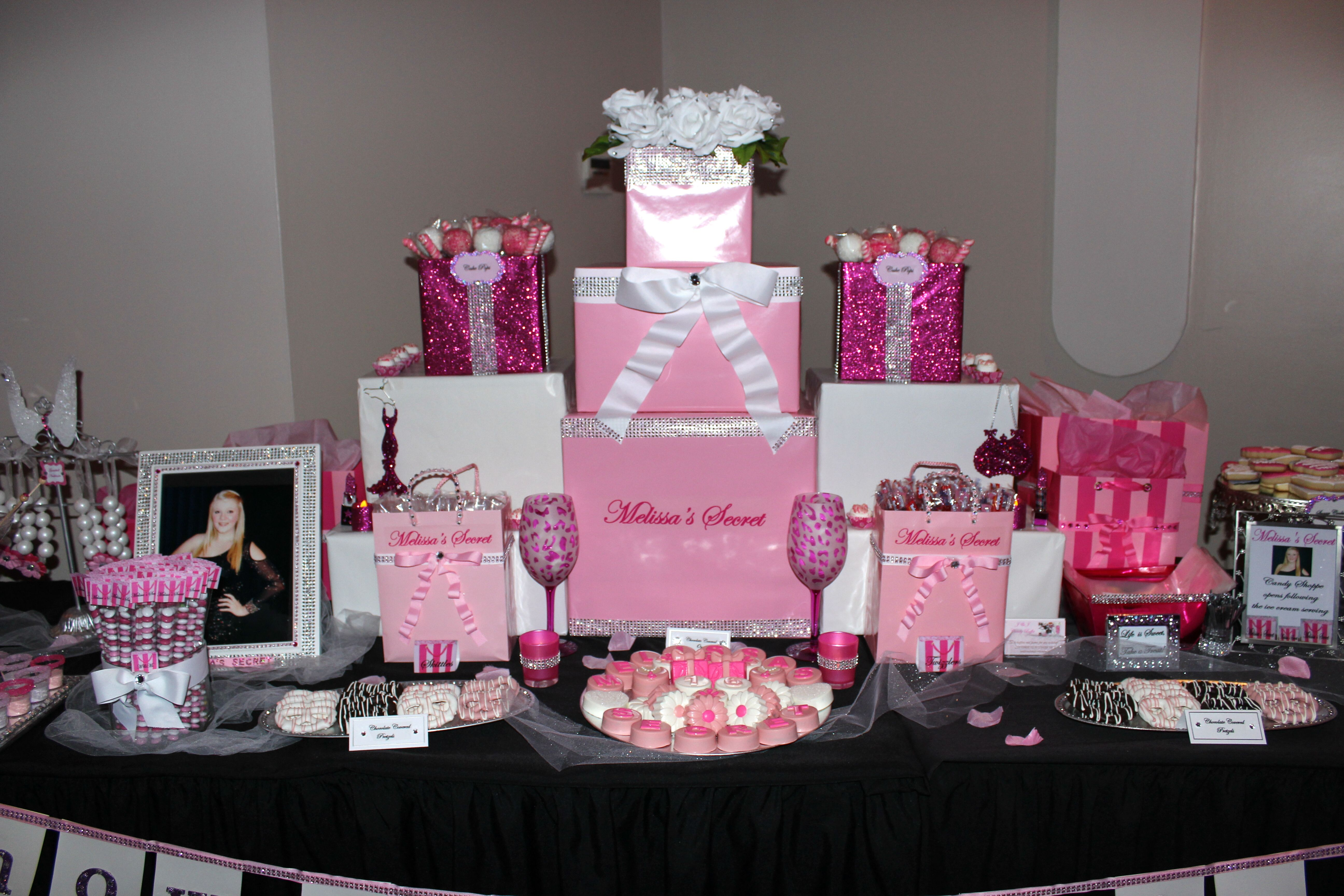 Victoria S Secret Candy Table Pink Birthday Party Hotel Birthday Parties Victoria Secret Party