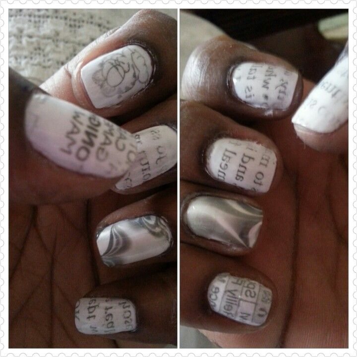 2nd attempt at newspaper nails combining water marble nail art ...