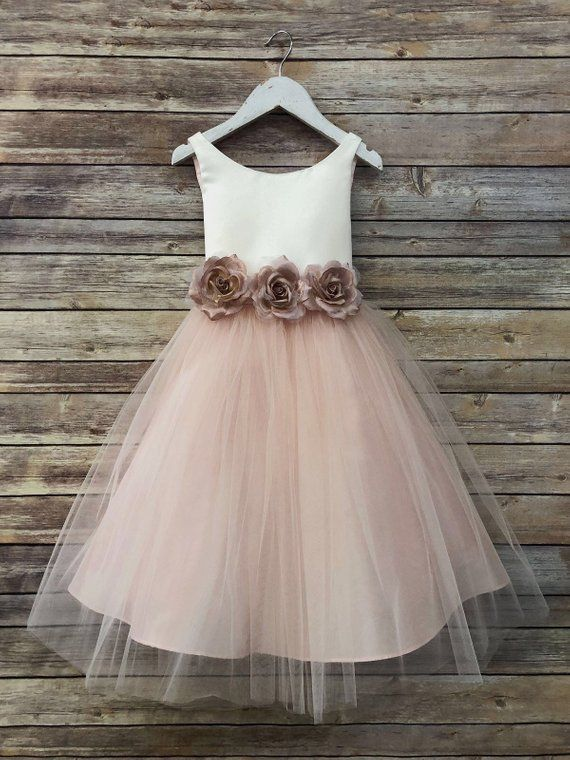 b7042d7a8f4 Tulle overlay Flower Girl Dress with Pin on Silk Flowers