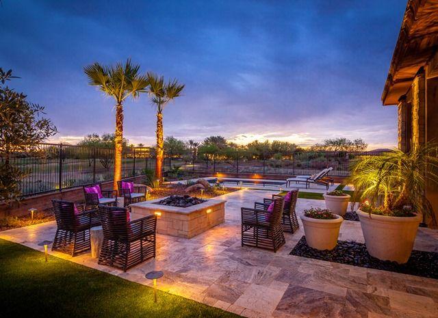 Backyard Design Inspiration Outdoor Seating Lighting Fire Pit Landscape Designs Desert Landscapes Stone Tiles