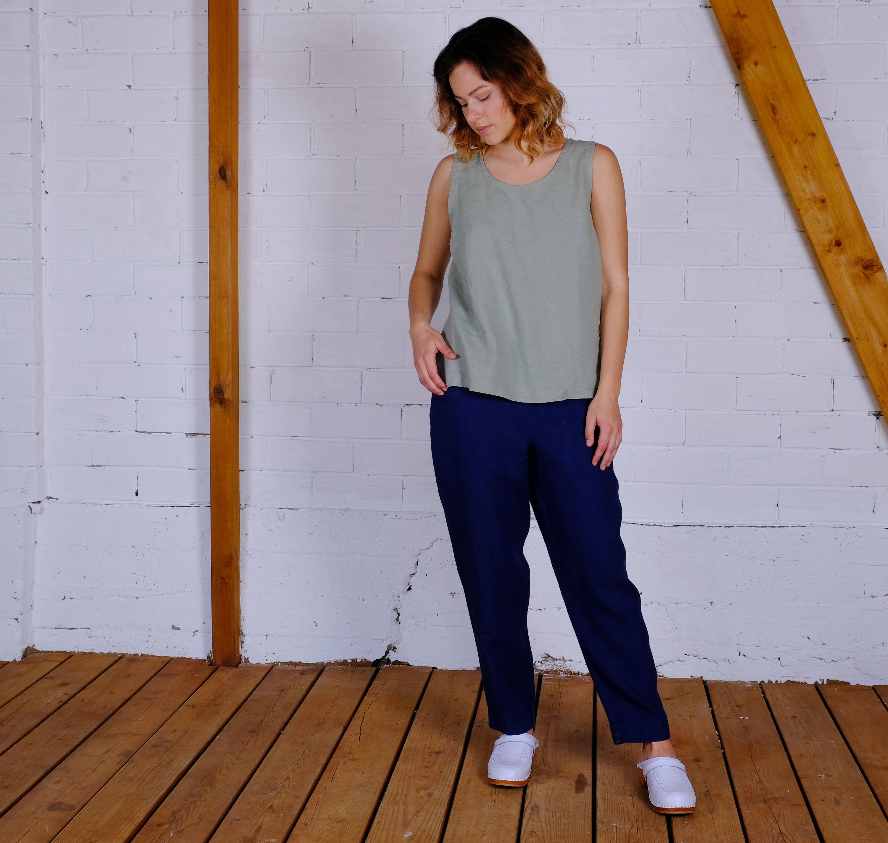 LINEN top sleevless Soft Casual Loose Large Size Oversized Wide Customized Plus Size