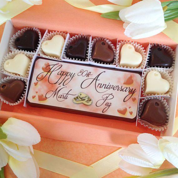 Happy Anniversary Chocolate Gift Personalized Anniversary Etsy In 2021 Custom Chocolate Chocolate Gifts Personalized Chocolate