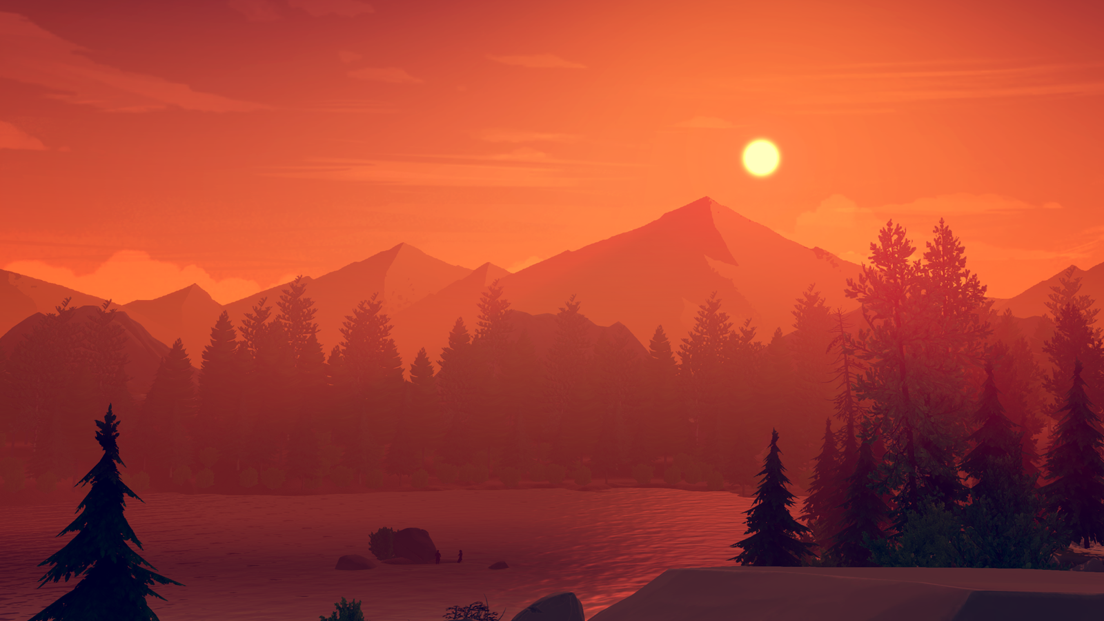 Firewatch Review A Game That Perfectly Captures The Beauty And Terror Of Nature Landscape Illustration Firewatch Sunset Painting