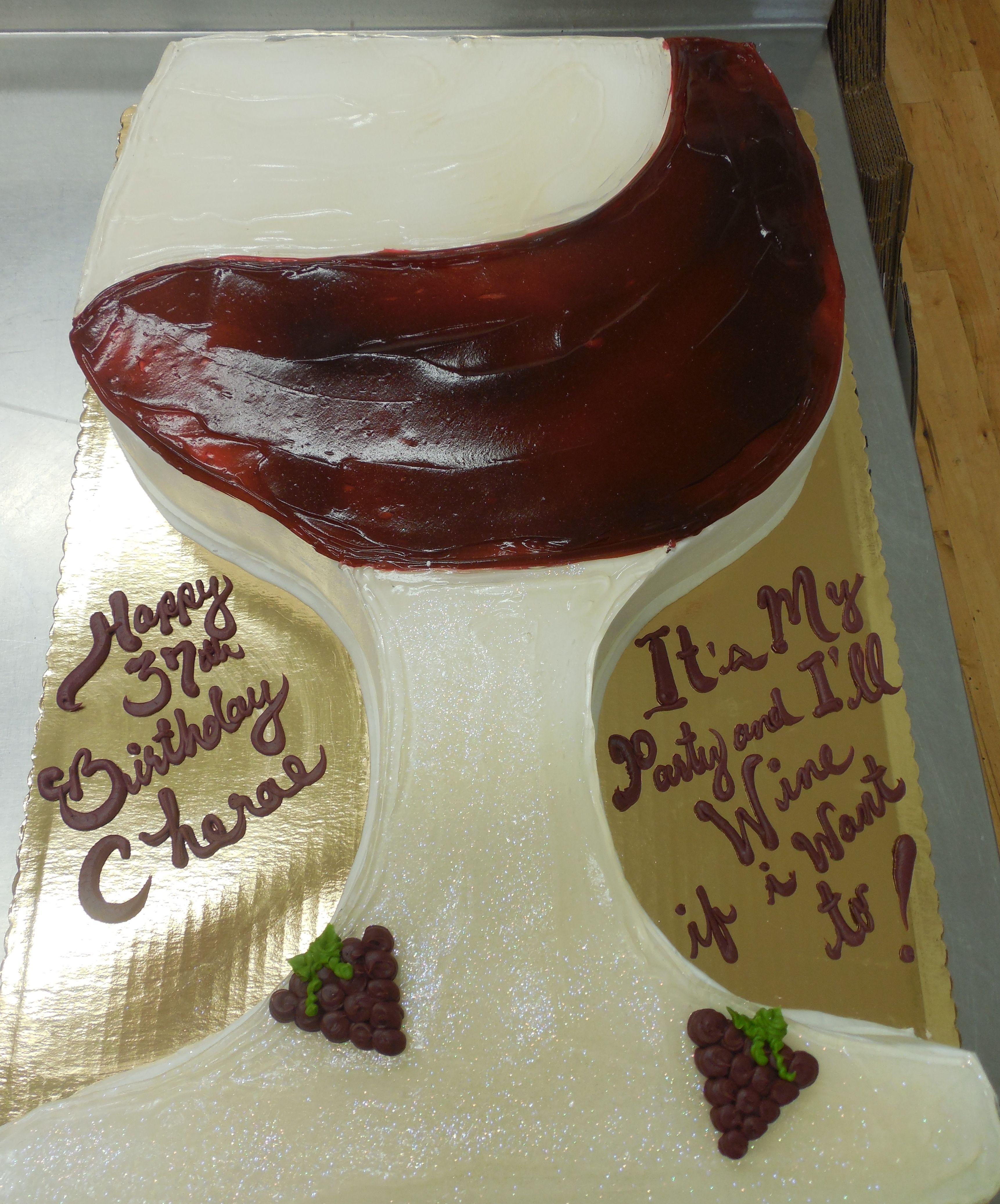 Calumet Bakery Wine Glass Shaped Cake Birthday 40th Cakes