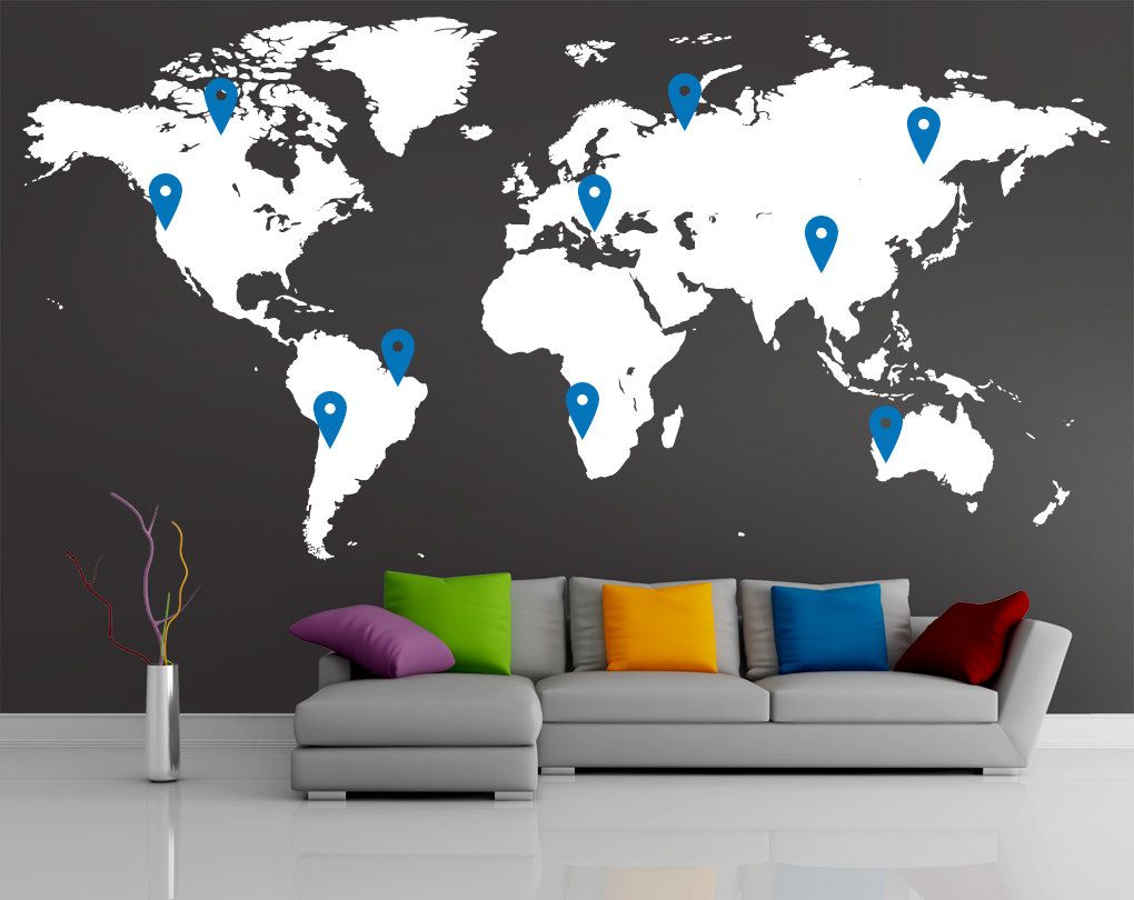 Charcoal grey world map wall decal google search room ideas charcoal grey world map wall decal google search gumiabroncs Gallery