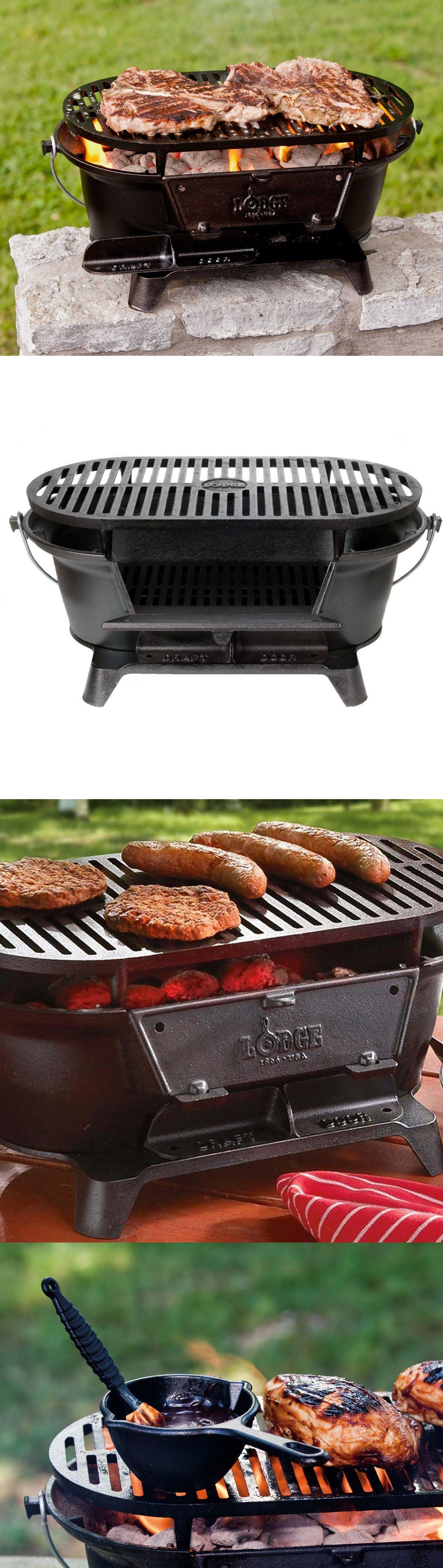 Camping BBQs And Grills 181388: Lodge Charcoal Grill Cast Iron Outdoor  Portable Picnic Camping Bbq