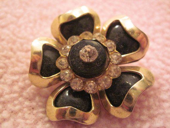 Gorgeous Vintage Flower Brooch with Rhinestone by rarefinds4u $14.50