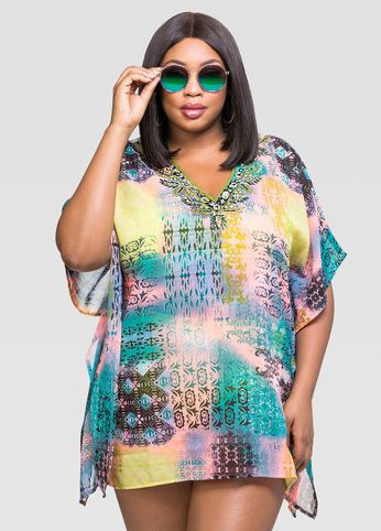 printed beaded cover-up top | swim by ashley stewart | pinterest