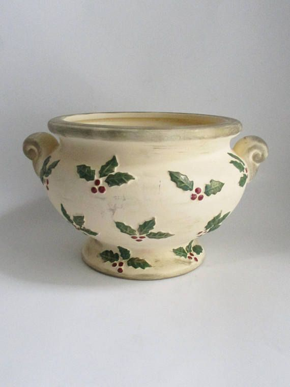 Ftd Christmas 2019 Vintage Christmas Planter Ceramic Bisque Holly Berries FTD Vase