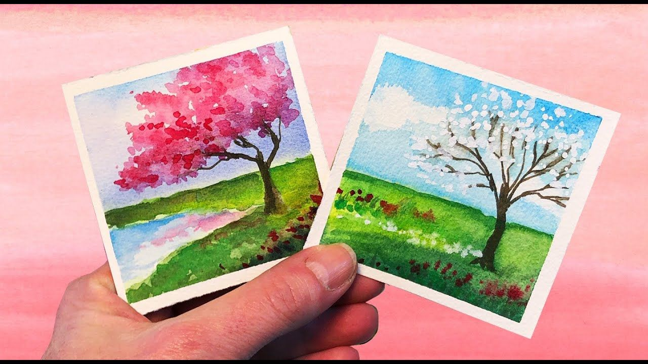 Watercolor Painting Spring Tree Landscape Step By Step Mini