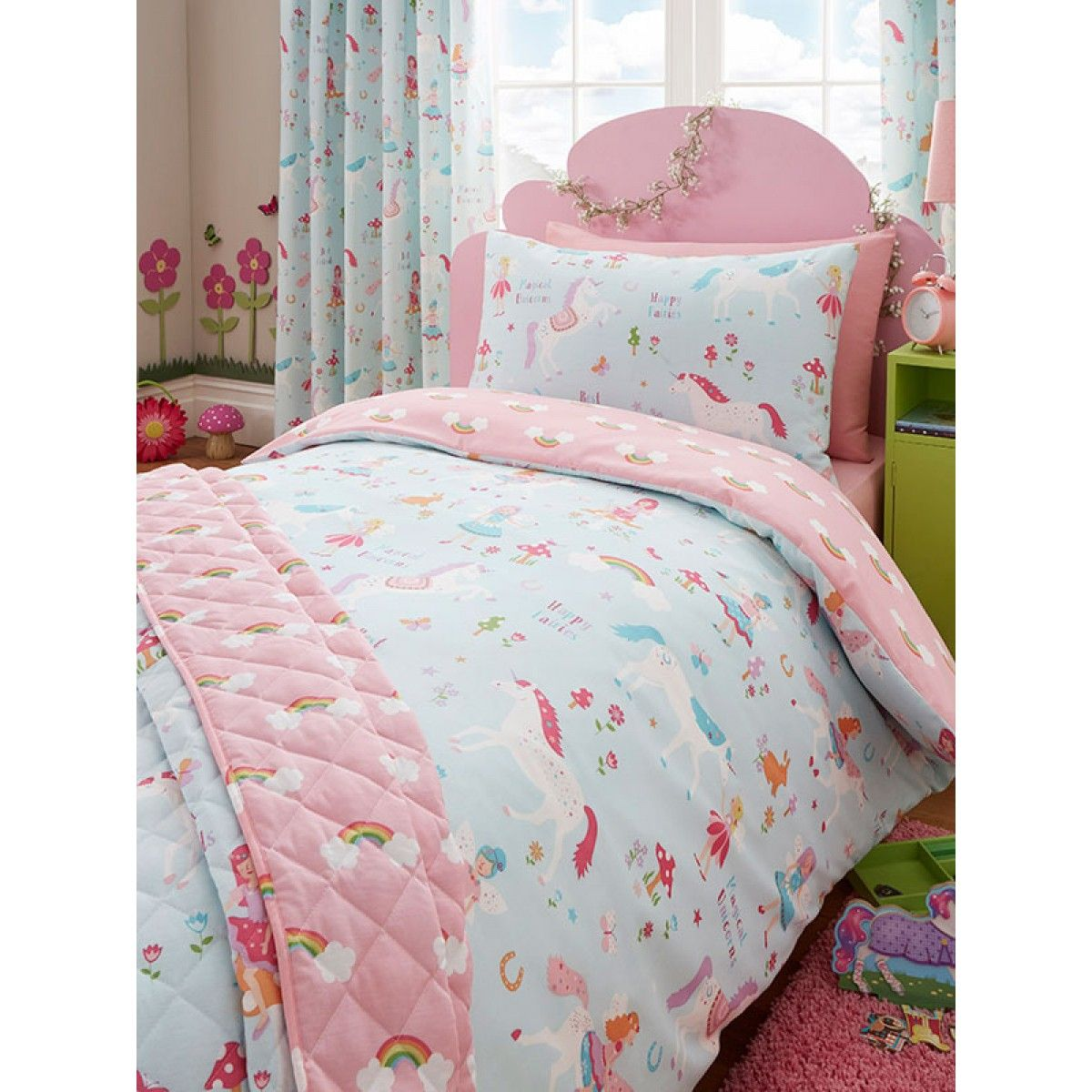 A Pretty Unicorn And Fairy Themed Bedding Set Includes 1 X Single Duvet Cover
