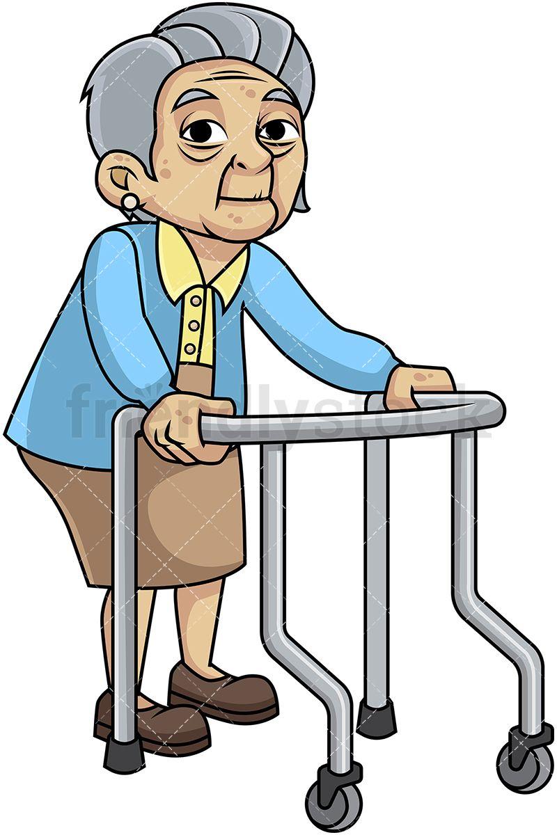 Feeble Old Woman With Walker Cartoon Vector Clipart Friendlystock Cartoons Vector Cartoon Old Women