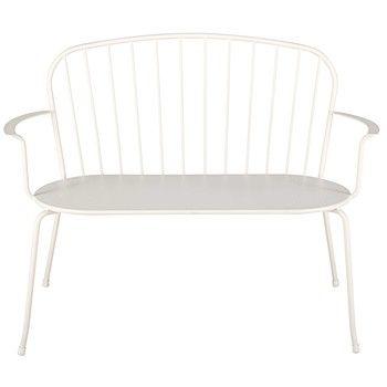Stapelbare Gartenbank 2/3-Sitzer aus elfenbeinfarbenem Metall ...