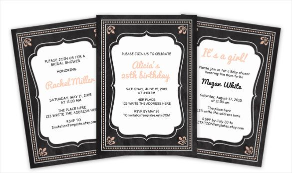 22+ Chalkboard Invitation Templates – Free Sample, Example, Format ...