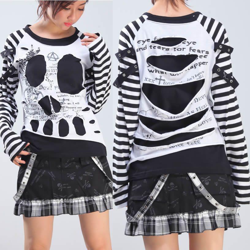 White And Black Stripe Skull Long Sleeve Punk Rock Emo