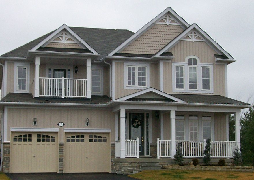 Kaycan Vinyl Siding Mocha Board Batten Siding With Grey Stone And White Trims Beige Cream Neutral Earth To Vinyl Siding Siding Cost Vinyl Siding Colors
