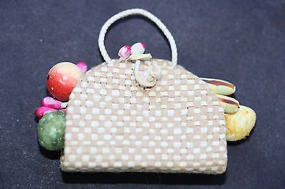VINTAGE BARBIE FRUIT STRAW PURSE TO 1963 BUSY MORNING 956-EXCELLENT