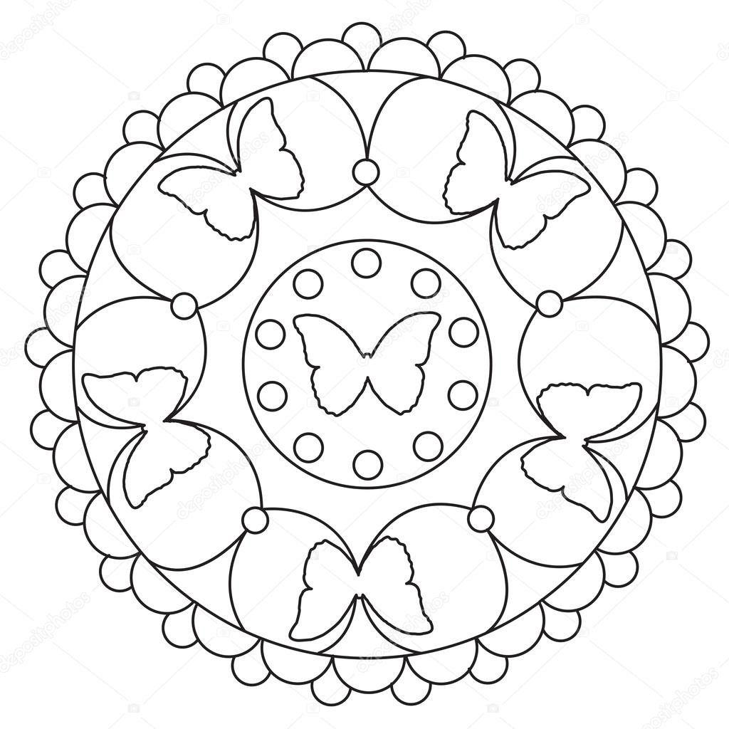 Simpele Vlinder Mandala Kleurplaten Stockvector Ingasmk Mandala Kleurplaten Vlinder Tekening Mandala