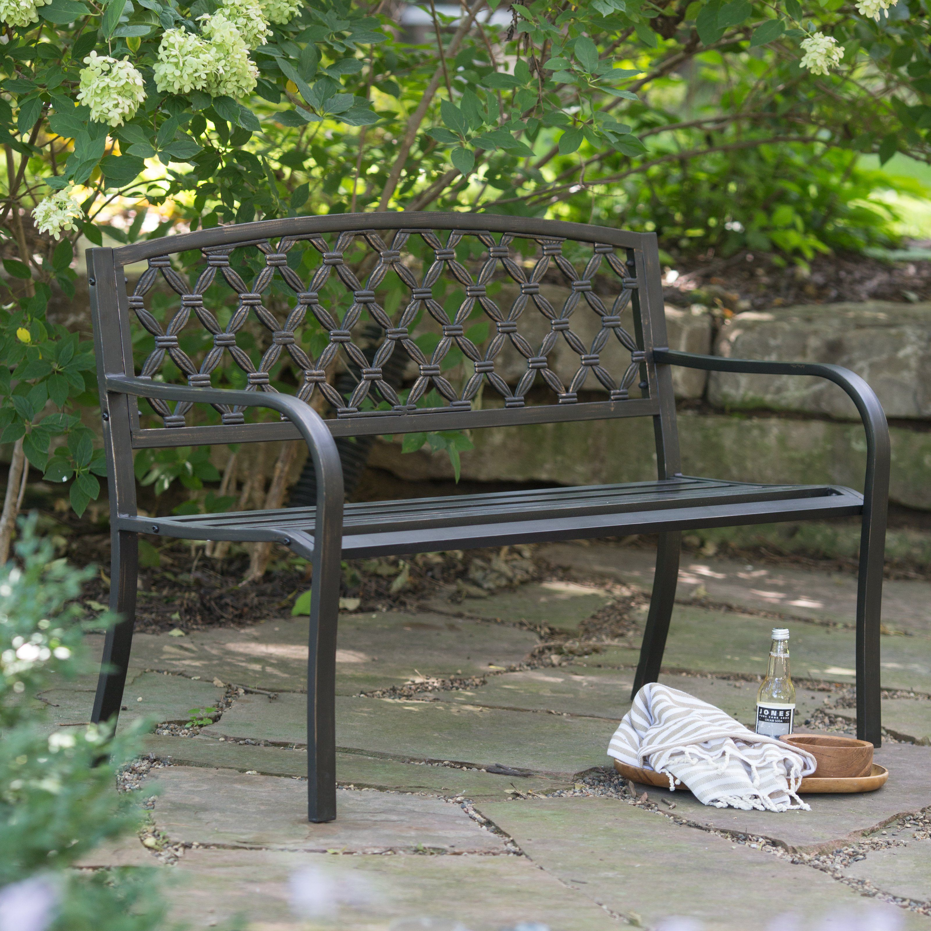 Outdoor Coral Coast Crossweave Curved Back 4 Ft Metal Garden Bench Sv131fh Products In 2019 Metal Garden Benches Affordable Outdoor
