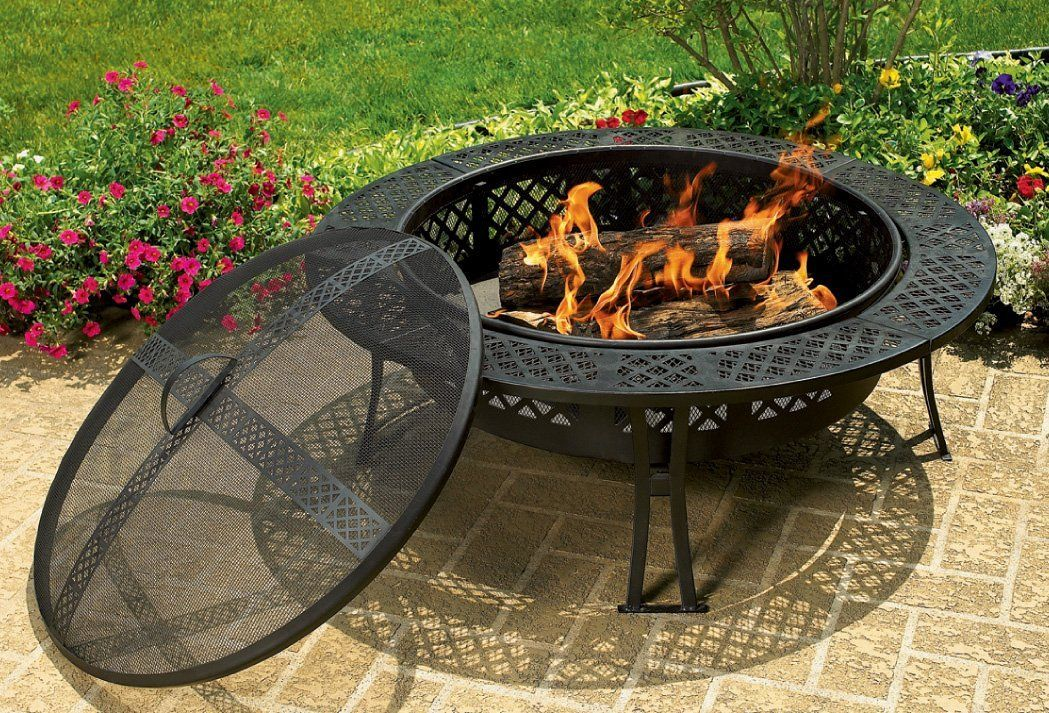Fb8008 diamond mesh fire pit with screen and cover casa