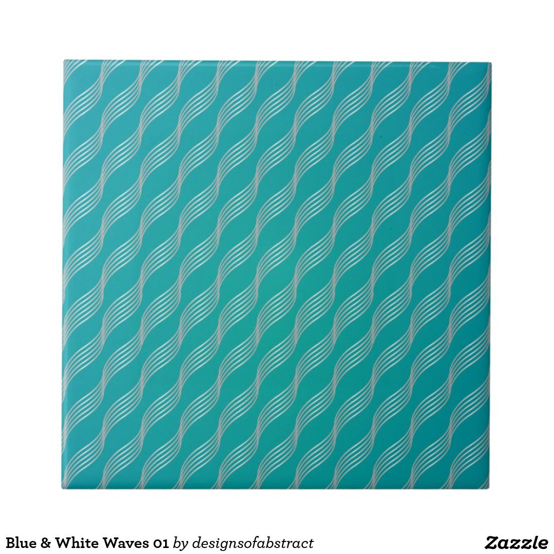 Blue & White Waves 01 Small Square Tile
