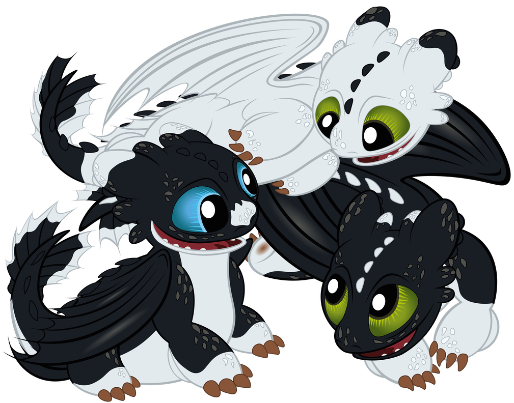 Night Light baby dragons of Toothless and Light Fury | How to Train
