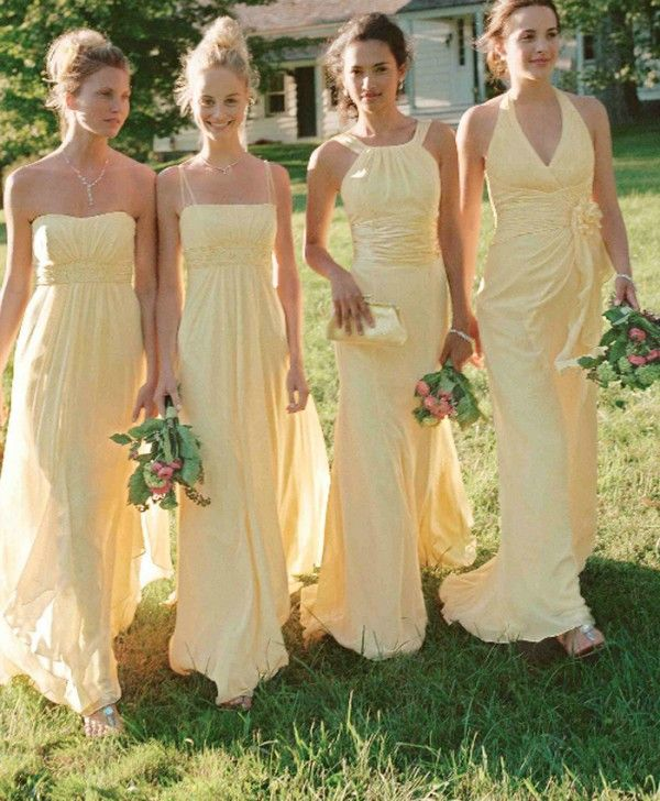 eaf5dda9d15 fashin mismatched yellow chiffon bridesmaid dress with ruched