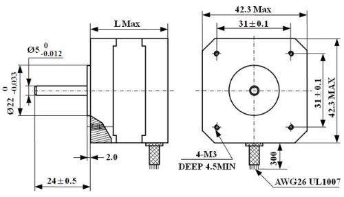 Amazon.com: ZJchao 57oz-in 1Nm Nema 17 Stepper Motor 1.3A