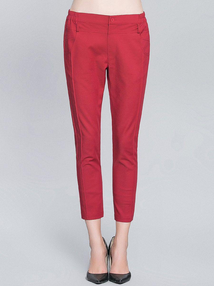 #AdoreWe Pokwai Red Plain Casual Pockets Cropped Pants - AdoreWe.com