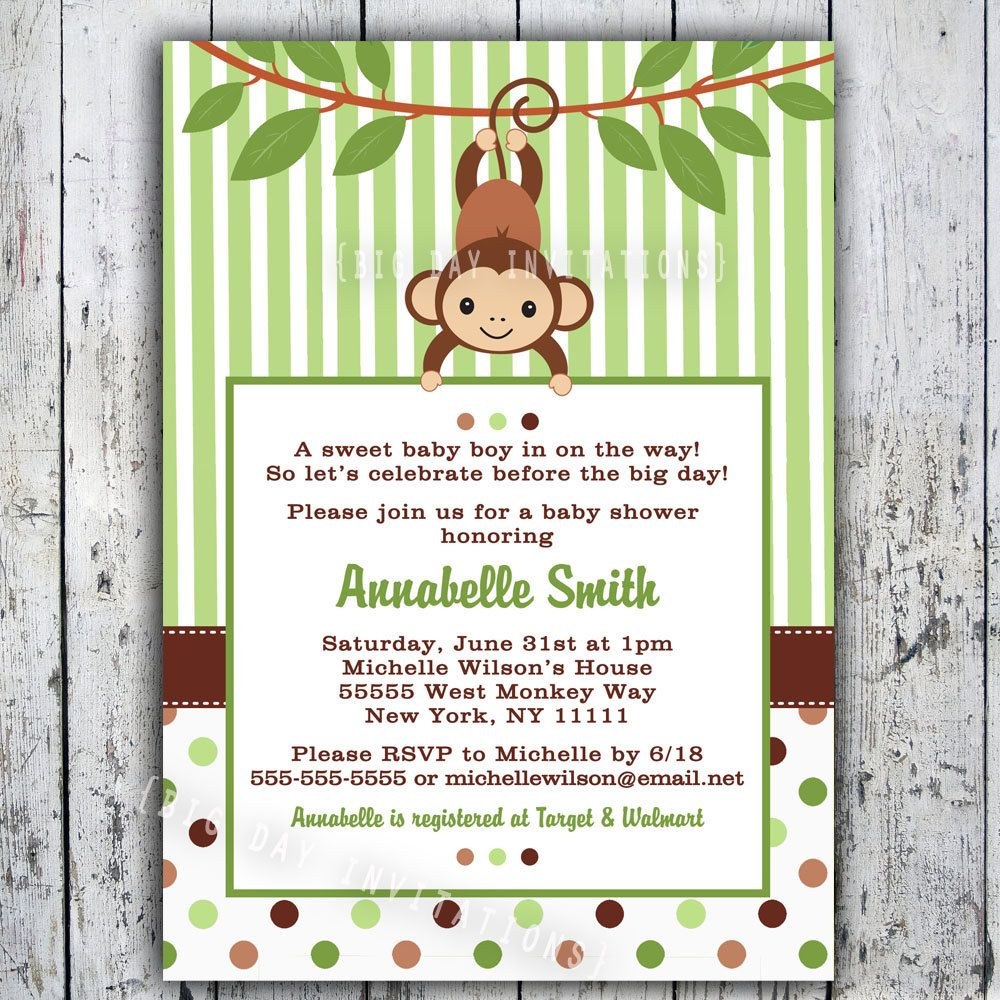 mod monkey baby shower invitation printable boy or girl birthday