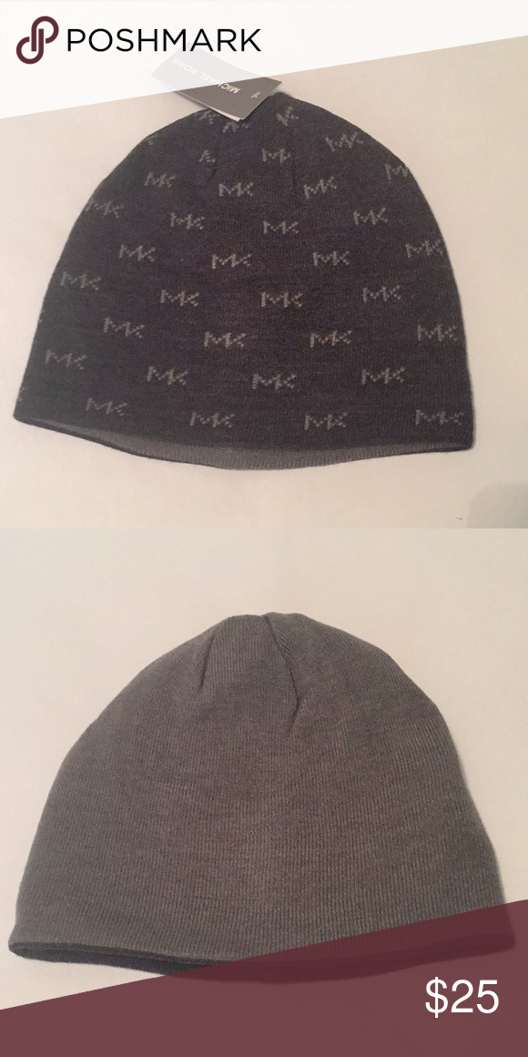 255608f1910 Michael Kors gray reversible beanie MK reversible beanie in charcoal gray  with MK logo