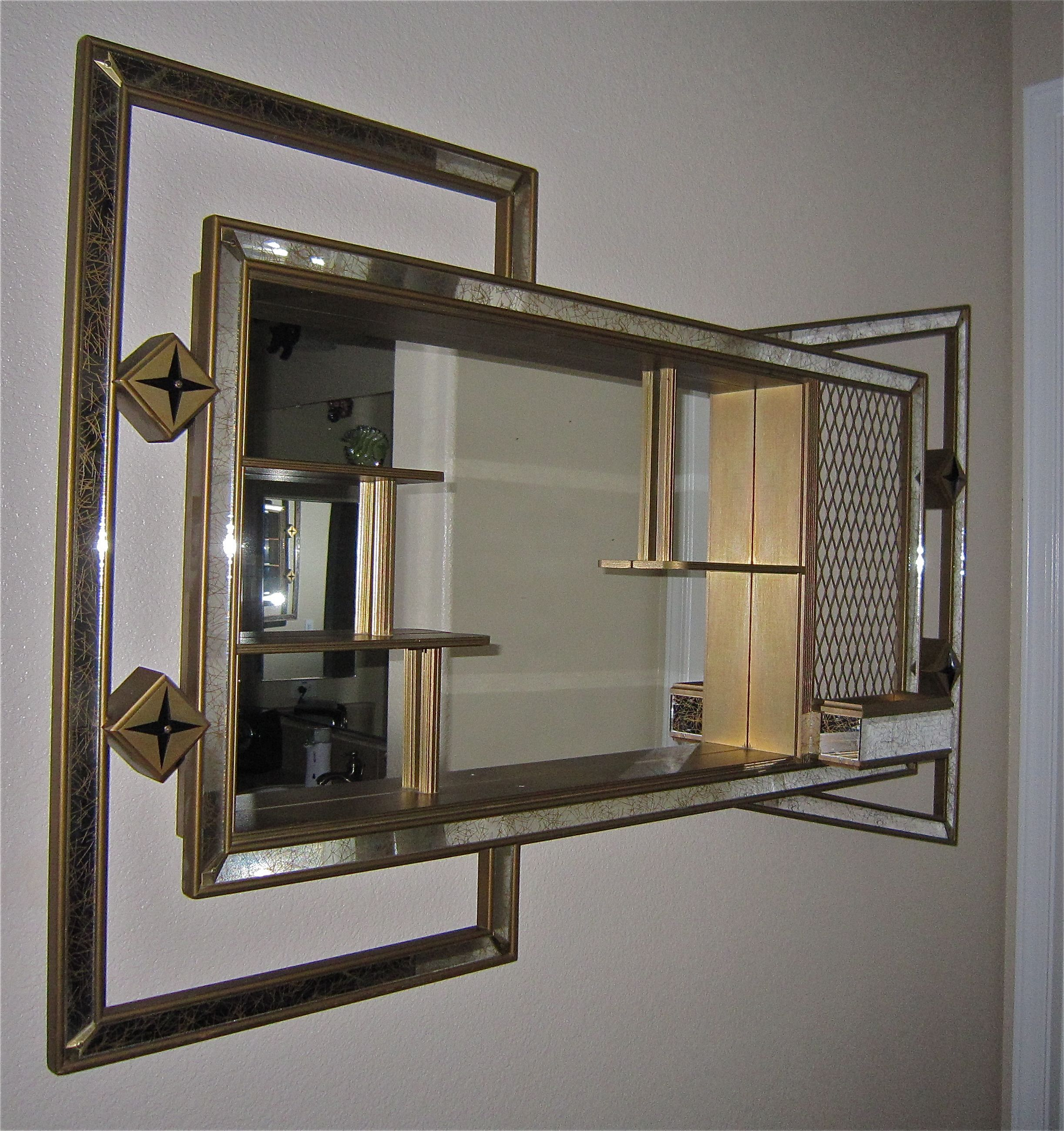 Bathroom Mirrors Ebay Australia vtg 50s mid century modern eames retro atomic mirror shadow box