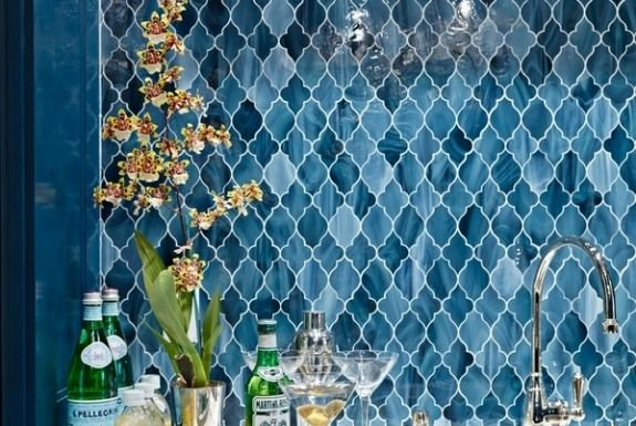 blue moroccan backsplash tile peel and