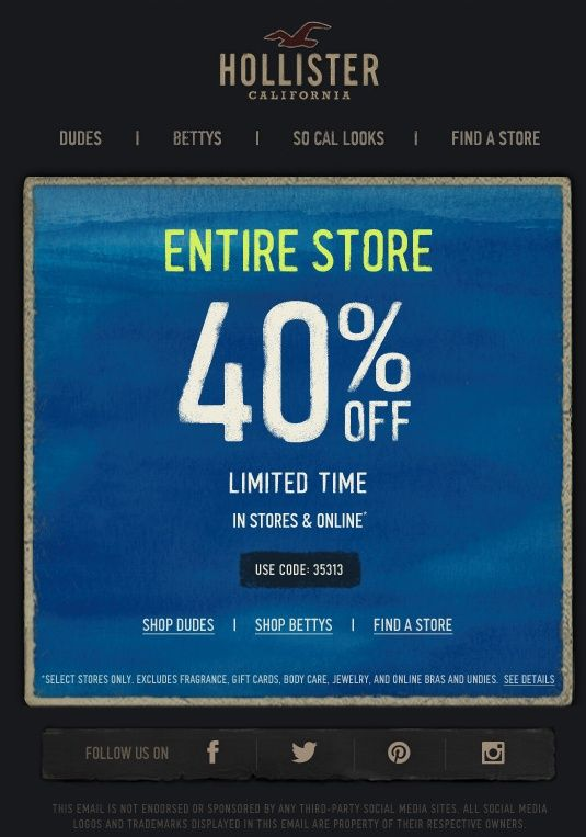 picture about Hollister Printable Coupon named Hollister: 40% off Printable Coupon Random Pins