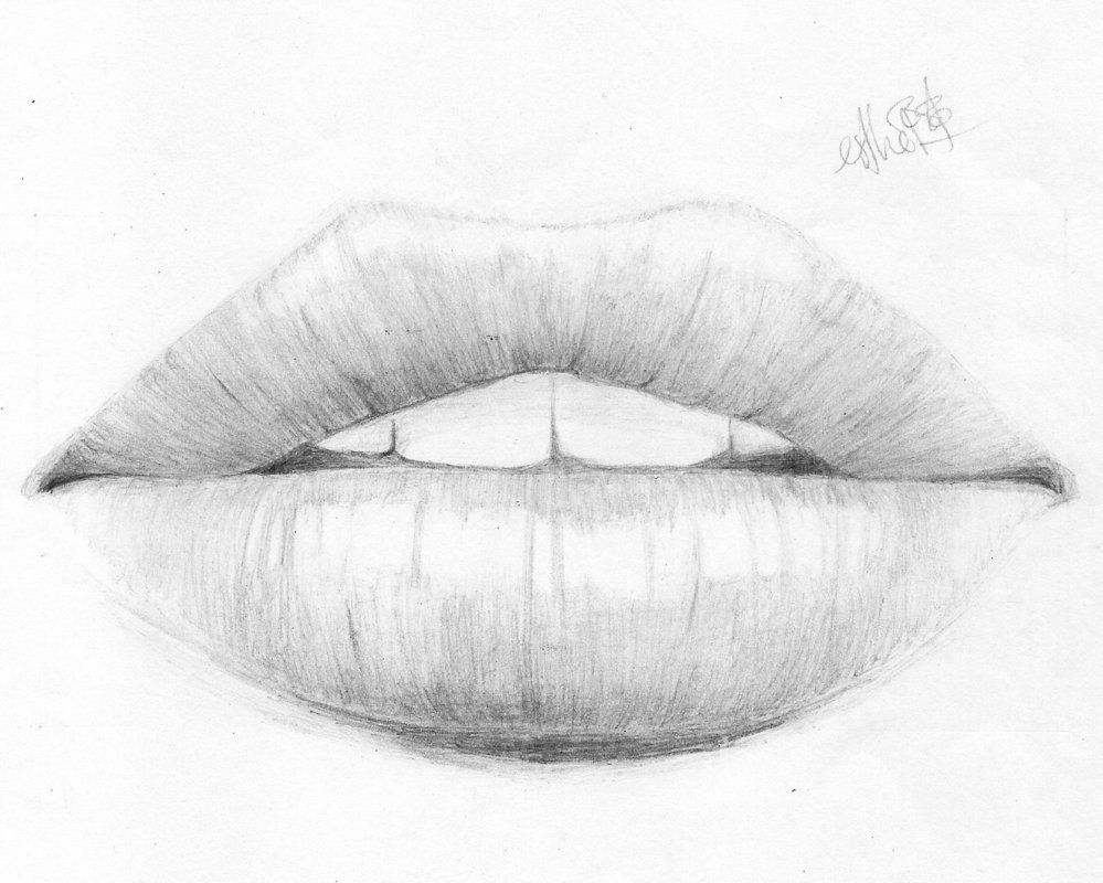 Drawing of the mouth for How to draw cute lips