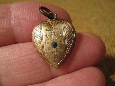 ███►alter Herzanhänger mit blauen Stein um 1900 -Jugendstil