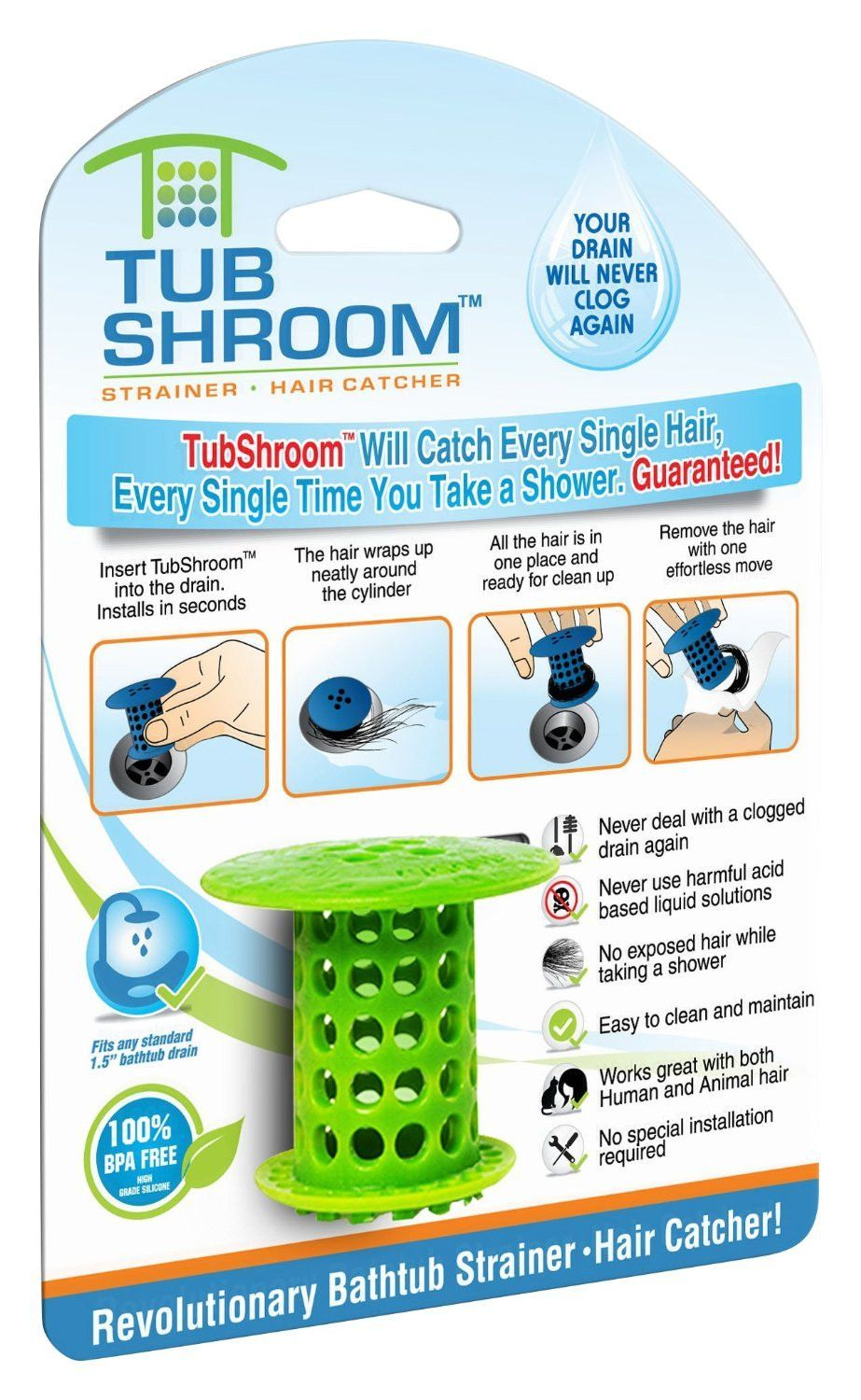 Green) The Hair Catcher That Prevents Clogged Tub Drains