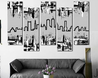 Boston skyline Customizable! Original painting. 41x64  5 piece canvas art. Gray  sc 1 st  Pinterest & Boston skyline Customizable! Original painting. 41x64